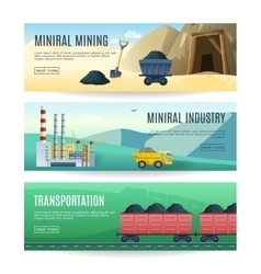 Mining industry horizontal banners vector