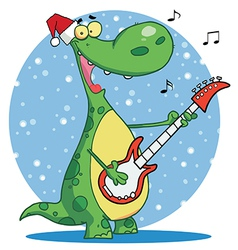 Dinosaur plays guitar with santa hat vector image