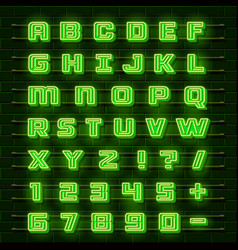 Neon font city neon green font english city vector