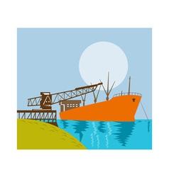 boom crane loading a cargo ship vector image