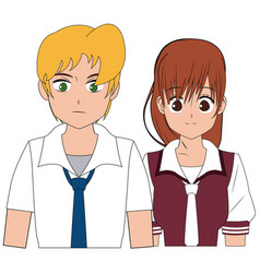 anime boy and girl student with uniform image vector image