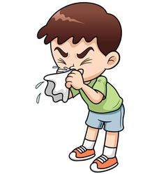 Sick boy cartoon vector
