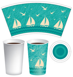 template paper cup with sailboats in the sea vector image