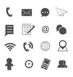 Contact and communication icons set vector