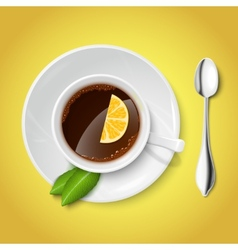 Realistic white cup with black tea vector