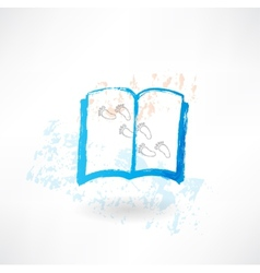 Book and footprints grunge icon vector image