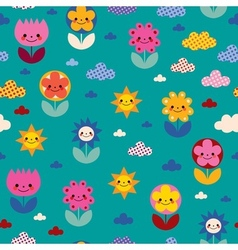Flowers and clouds nature pattern vector
