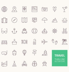 Travel outline icons for web and mobile apps vector