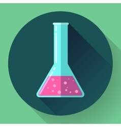 Conical flask icon with chemical solution flat vector
