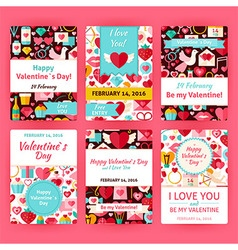 Happy valentine day flat invitation template set vector