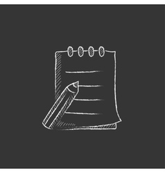 Writing pad and pen drawn in chalk icon vector