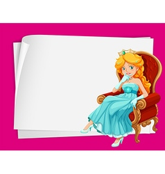 Paper design with princess on chair vector