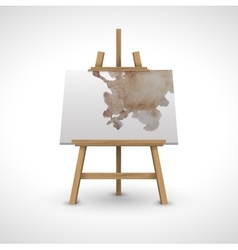 blank canvas on a wooden easel with watercolor vector image