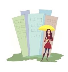 Girl with the yellow umbrella vector