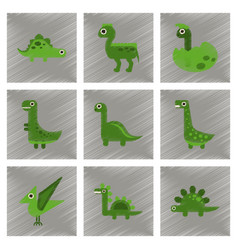 Assembly flat shading style icons cartoon dinosaur vector