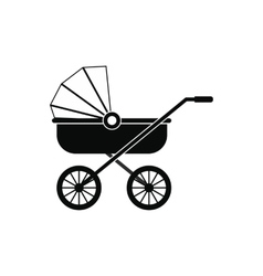 Baby carriage black simple icon vector
