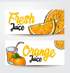Banners with glass of juice oranges and place for vector