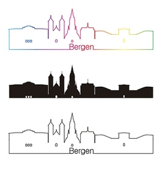 Bergen skyline linear style with rainbow vector image vector image