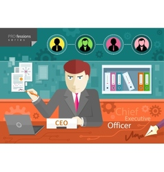 Chief executive officer sitting at table in office vector image vector image