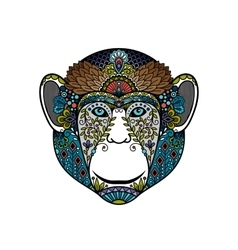 Colorful hipster monkey head vector