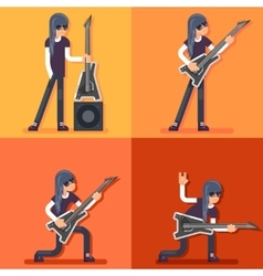 Electric guitar icon guitarist hard rock heavy vector
