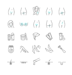 Epilation web icon set vector image