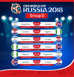fifa world cup russia 2018 group d fixture vector image