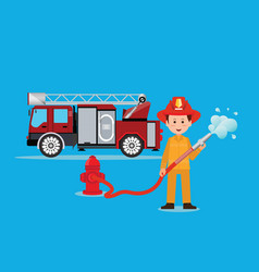 Fireman firefighter in uniform with water hose vector