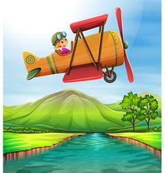 Girl flying airplane over the river vector