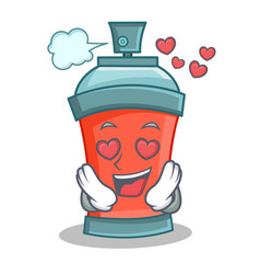 in love aerosol spray can character cartoon vector image