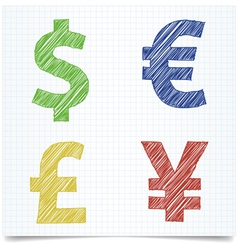 Money sign pen style vector image vector image