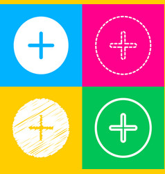 Positive symbol plus sign four styles of icon on vector