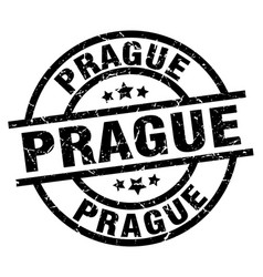 Prague black round grunge stamp vector
