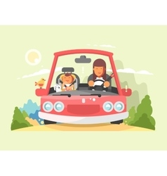 Safe driving in car vector