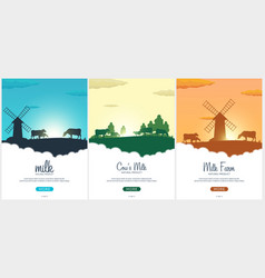 Set of poster milk natural product rural vector