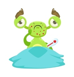 Sick funny monster with fever in bed green alien vector