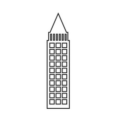 Silhouette of building skyscraper with cusp vector