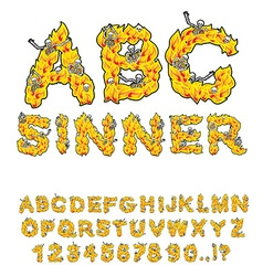 Sinner font Letters from flames Skeletons in hell vector image vector image