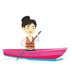 Sportswoman riding in kayak vector