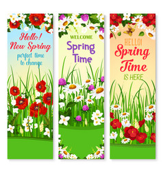 Spring wishes banners and flowers bunches vector