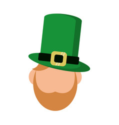 st patricks day face leprechaun vector image vector image