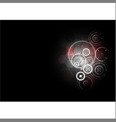 technological abstract red light interface gears vector image
