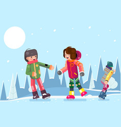 teenagers guy girl characters skating winter flat vector image