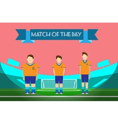 Three soccer players on football stadium vector