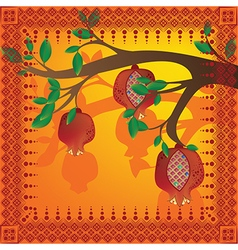 Tree branch with pomegranates and pattern vector