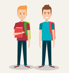 Two friendly man students friends together young vector