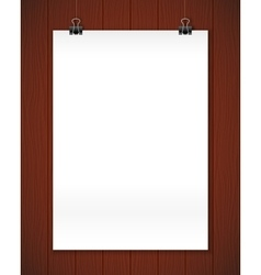 White paper poster on wooden wall realistic vector