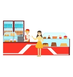 Woman ordering at the counter smiling person vector