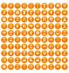 100 leadership icons set orange vector