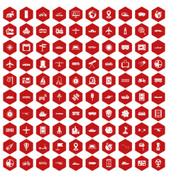 100 technology icons hexagon red vector